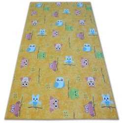 Fitted carpet for kids OWLS yellow