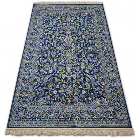Teppich WINDSOR 22935 JACQUARD dunkel blau - Blumen