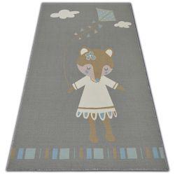 Carpet for kids LOKO Mouse grey anti-slip