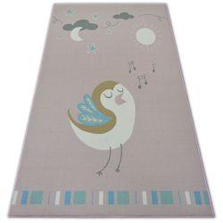 Teppich für Kinder LOKO Vogel rosa Antirutsch