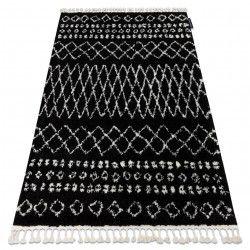 Koberec BERBER ETHNIC G3802 černý / bílá Třepení berber maročtí shaggy střapatý