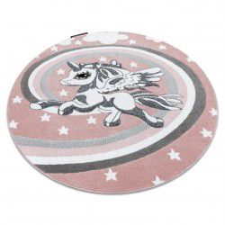 Kinderteppich PETIT PONY Kreis rosa