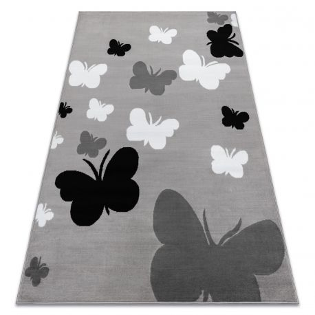 Teppich BCF ANNA Butterfly 2650 Schmetterlinge grau / dunkelgrau
