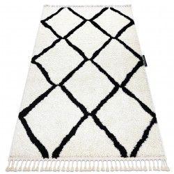 Koberec BERBER CROSS bílá Třepení berber moroccan shaggy střapatý