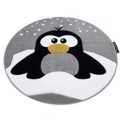 Kinderteppich PETIT PENGUIN PINGUIN SCHNEE Kreis grau