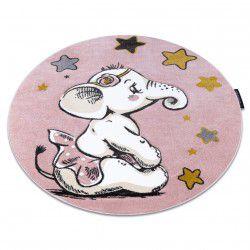 Kinderteppich PETIT ELEPHANT ELEFANT STERNE Kreis rosa