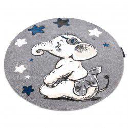 Koberec PETIT ELEPHANT SLON HVĚZDA kruh šedá