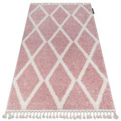 Teppich BERBER TROIK A0010 rosa / weiß Franse berber marokkanisch shaggy