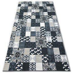 Килим ЛІСАБОН 27218/356 квадрати плитки чорний Лісабонський стиль