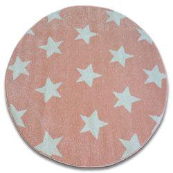 Tapis SKETCH cercle - FA68 rose et crème - Petites étoiles Étoiles