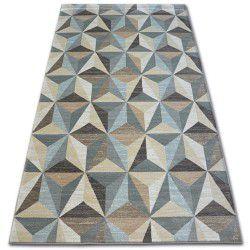 Tapis ARGENT - W6096 Triangles Beige et Bleu
