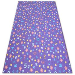 Fitted carpet for kids NUMBERS purple numbers, alphabet, digits