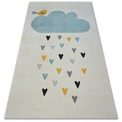 Pastel szőnyeg 18409/062 - Felhő Szívek Madár krém türkiz szürke