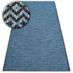 Tapis EN CORDE SIZAL LOFT 21144 LOSANGES ZIGZAG bleu/noir/argentin