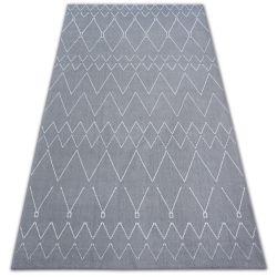 Teppich SENSE Micro 81249 ZIGZAG ETHNO silber/weiß