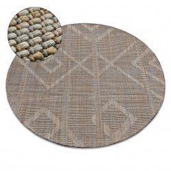 Alfombra de cuerda sisal NATURE G2929 círculo Franjas Boho beige