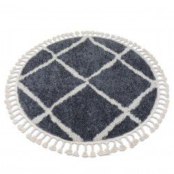 Koberec BERBER CROSS B5950 kruh šedá / bílá Třepení berber moroccan shaggy
