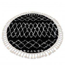 Килим BERBER ETHNIC G3802 коло чорний / білий бахромою волохатий