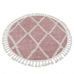 Килим BERBER TROIK A0010 коло рожевий / білий бахромою волохатий