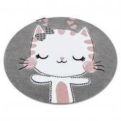 Tapete PETIT KITTY GATINHO redondo cinzento