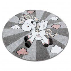 Teppich PETIT EINHORN Kreis grau