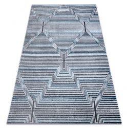 Tappeto Structural SIERRA G5018 tessuto piatto blu - strisce, quadri
