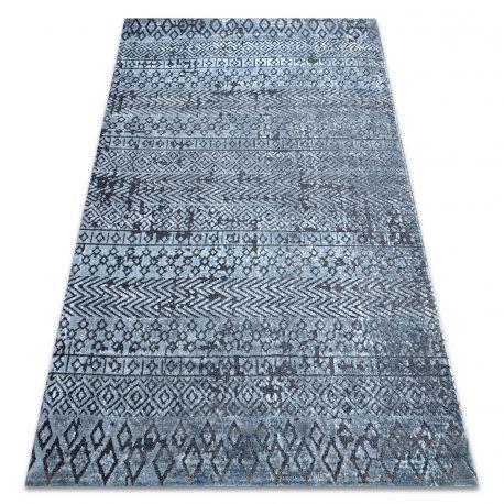 Dywan Strukturalny SIERRA G6042 Płasko tkany, dwa poziomy runa niebieski - geometryczny, etniczny
