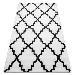 Tapis SKETCH - F343noir et blanc trèfle marocain trellis