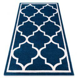 Koberec SKETCH - F730 vzor Marocký jetel, Mříž, modro bílý