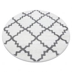 Alfombra SKETCH círculo - F343 Enrejado Trébol marroquí blanco/gris