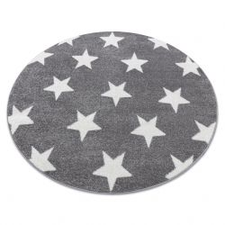 Килим SKETCH колесо - FA68 сіро-білий - зірки