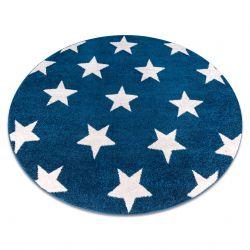 Tapis SKETCH cercle - FA68 bleu et blanc - Petites étoiles Étoiles