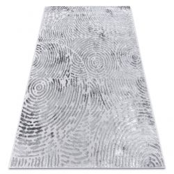 модерен килим MEFE 8725 кръгове пръстови отпечатъци - structural две нива на руно сив
