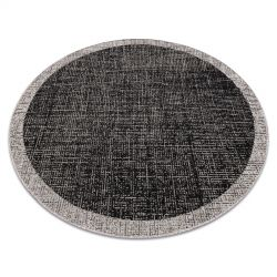 TAPIS EN CORDE SIZAL FLOORLUX Cercle 20401 Cadre noir / argentin