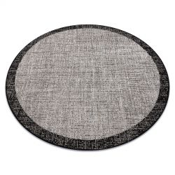 Fonott sizal floorlux szőnyeg Kör 20401 Keret ezüst / fekete