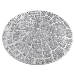 Modern MEFE carpet Circle 6185 Tree wood - structural two levels of fleece grey