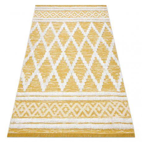 Fonott Sizal szőnyeg boho MOROC gyémánt 22297 rojt - két szintű gyapjú sárga / krém, újrahasznosított szőnyeg