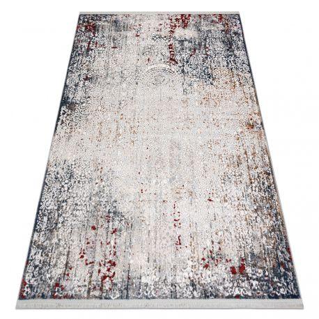 Tappeto moderne REBEC frange51151A Ornamento vintage - due livelli di pile grigio / crema