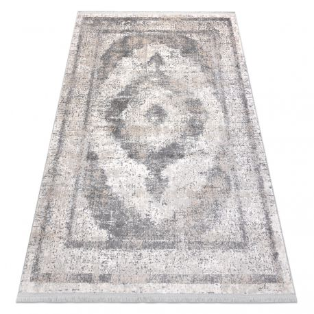Klasszikus REBEC szőnyeg rojt 51171A Dísz vintage - két szintű gyapjú krém / szürke