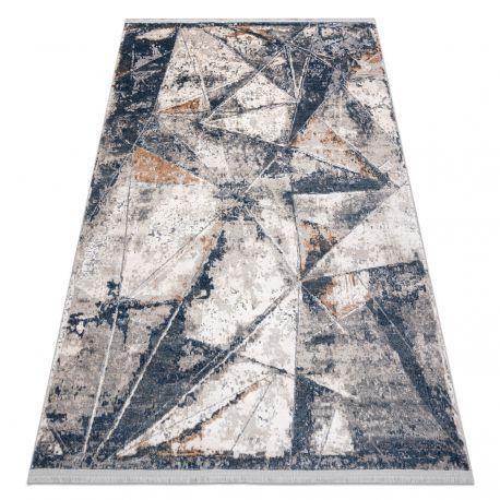 Moderní koberec REBEC třepení 51176A Geometrický, Trojúhelníky - dvě úrovně rouna krém / modrá
