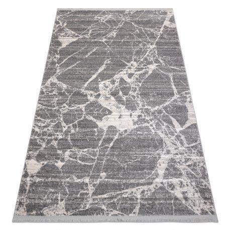 Tapis moderne REBEC franges 51186B Marbre - deux niveaux de molleton crème / gris