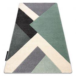 Koberec ALTER Fiori Geometrický, trojúhelníky zelená / šedá