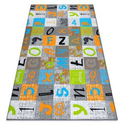 Tappeto per bambini JUMPY Patchwork, Lettere, Numeri grigio / arancio / blu