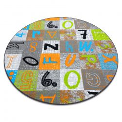 Carpet for kids JUMPY circle Patchwork, Letters, Numbers grey / orange / blue