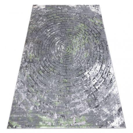 Tapete moderno OPERA 0W9790 C90 54 circulos, tijolo, vintage - Structural dois níveis cinzento / verde