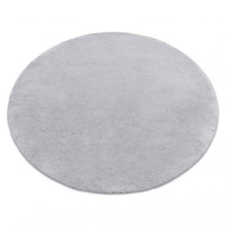 Modern washing carpet TEDDY circle shaggy, plush, very thick anti-slip grey