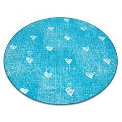 Dywan dla dzieci HEARTS koło Jeans przecierany, serca, serduszka, dziecięcy - turkus