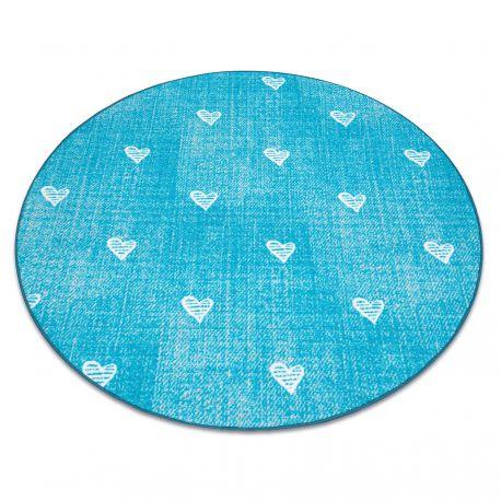 Ковер для детей HEARTS круг джинсы, vintage сердца - бирюзовый