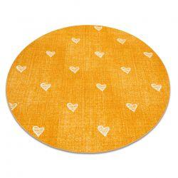 Koberec pro děti HEARTS Kruh Jeans, vintage srdce - oranžový