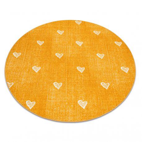 Ковер для детей HEARTS круг джинсы, vintage сердца - оранжевый